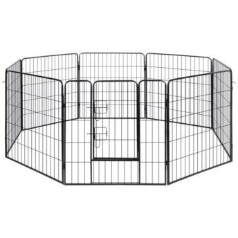 vidaXL Pasja ograda 8 panelov jeklo