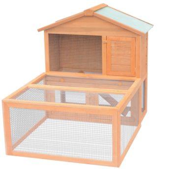 vidaXL Kletka za male živali in zajčke z zunanjim izhodom iz lesa