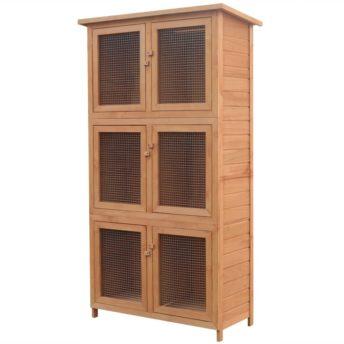 vidaXL Kletka za male živali in zajčke s 6 prostori iz lesa