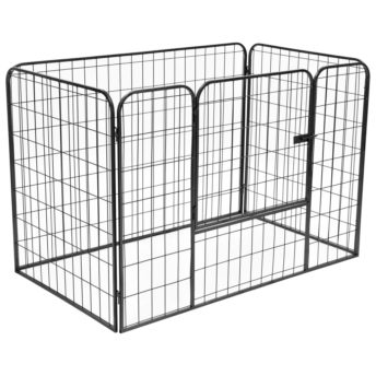 vidaXL Trpežna pasja ograda črna 120x80x70 cm jeklo